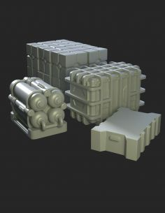 Hangar equipment vol. III - boxes-Greenstrawberry-most realistic sci-fi and photoetch models